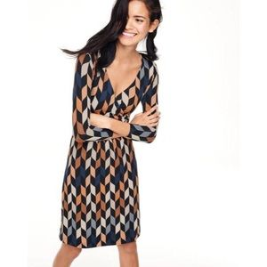 Boden faux wrap midi geometric pattern midi dress